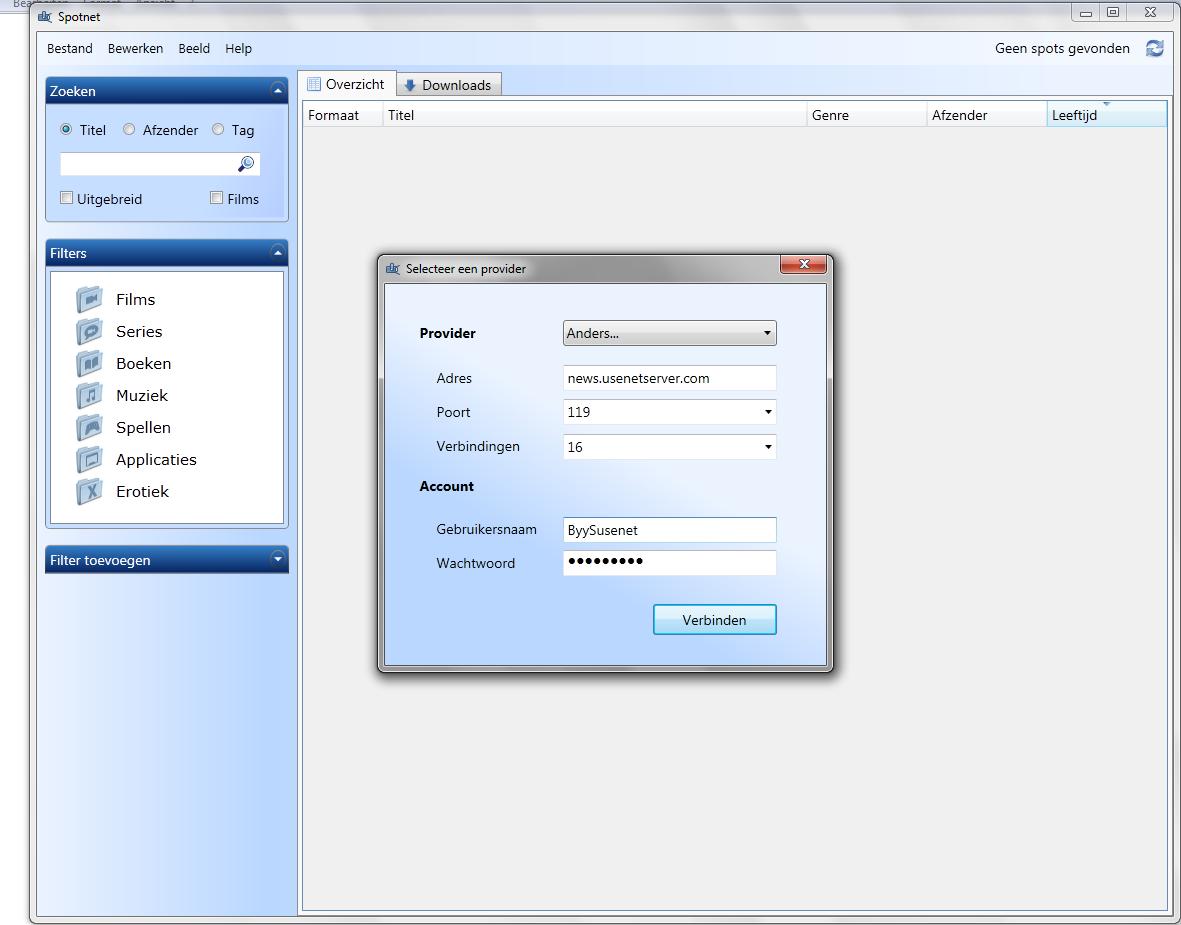 Spotnet - Zoeken en downloaden met een nieuwsserver