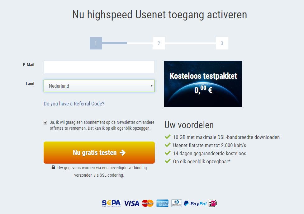 UseNeXT Nu highspeed Usenet toegang activeren - Email