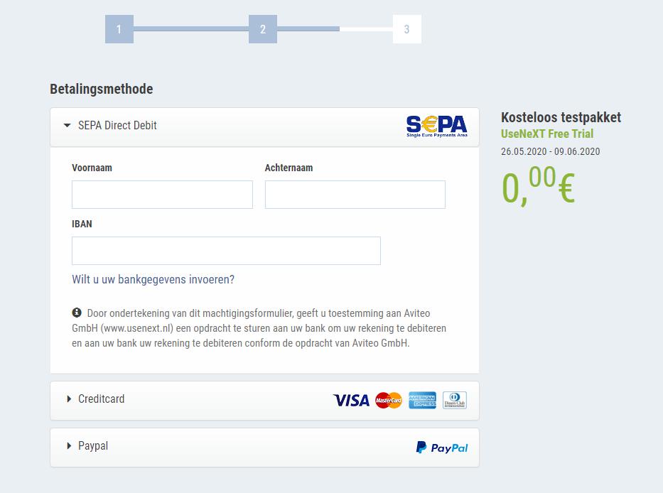 UseNeXT Betalingsmethode